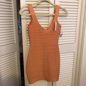 Herve Leger Orange Bandage Mini Dress